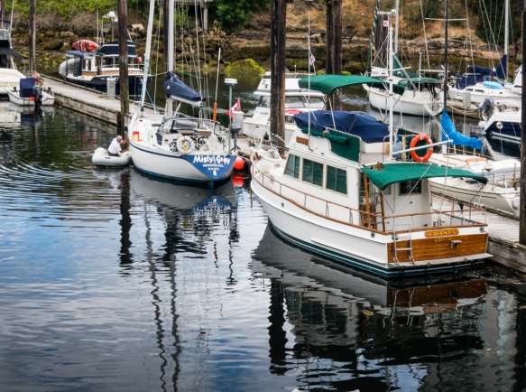Boats tied up at Nanaimo Harbour, Vancouver Island, British Columbia, Canada