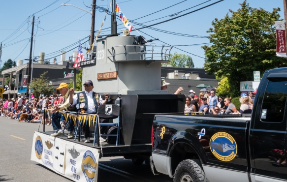 Bremerton Base (on a neighboring island) United States Submarine Veterans (mainly from World War II) had a float in the parade with a replica of the USS Bonefish submarine, Grand Old 4th