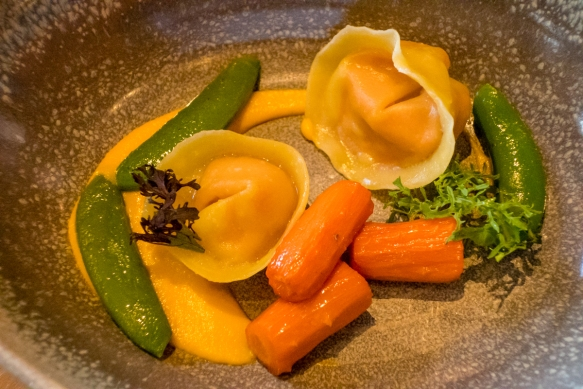 Carrot & mascarpone tortellini with chewy carrots and pea shoots, Olo, Victoria, British Columbia, Canada