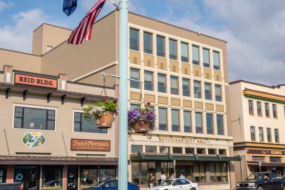 City Hall is in the center of downtown, set amidst shops and restaurants, Ketchikan, Alaska, USA