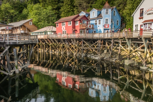 Creek Street_s buildings date back to the late 19th century when the street was built atop poles driven into the bank of Ketchikan Creek, Ketchikan, Alaska, USA; the neighborhood is kn