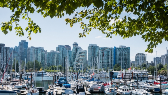 Downtown Vancouver, British Columbia, Canada, residential high rises viewed from the marina on Burrard Inlet at Stanley Park