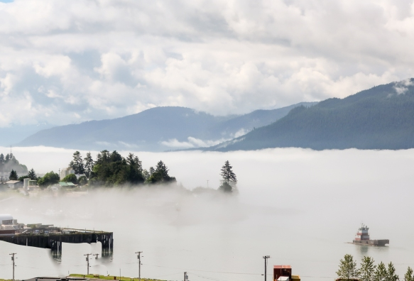 Early morning sea fog blanketed the harbor and waterside streets of Wrangell, Alaska, USA