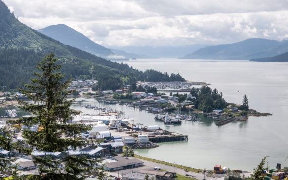 In contrast with the first photograph of this blog post, here we could finally see the industrial harbor and fish processing plants at the south end of the town of Wrangell, Alaska, USA