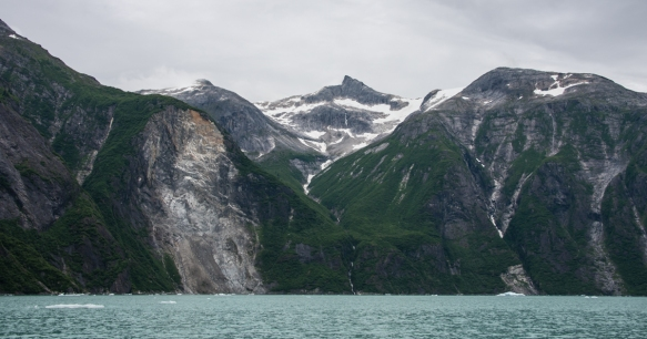 In the summer there is quite a bit of water runoff from the melting snow in the mountains, resulting in beautiful waterfalls, Tracy Arm Fjord, Juneau, Alaska