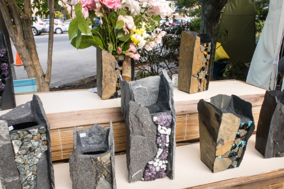 "John Quinn_s handmade vases in natural stone (""Cast in Stone"") are made on the island from both indigineous slate and stones and materials sourced from around the world, Salt Sprin"