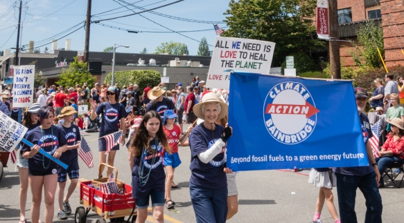 Many locals came out and marched in support of climate action, Grand Old 4th on Bainbridge Island, Washington, USA
