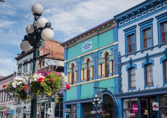 Many of the older buildings in downtown Victoria, British Columbia, Canada, have been beautifully restored and are now the home of numerous stores, cafes, restaurants and bars