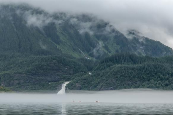 Nugget Falls descending to Lake Mendenhall, Juneau, Alaska, USA