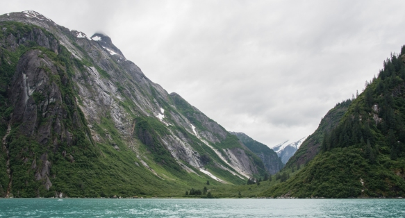 Our ship sailed fairly far up Tracy Arm Fjord, Juneau, Alaska, USA, before we stopped and lowered Zodiac inflatable boats for an opportunity to cruise the fjord and explore the icebergs,
