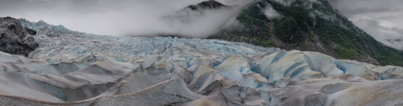 Panorama of the lower section of Mendenhall Glacier before it flows into Lake Mendenhall, Juneau, Alaska, USA