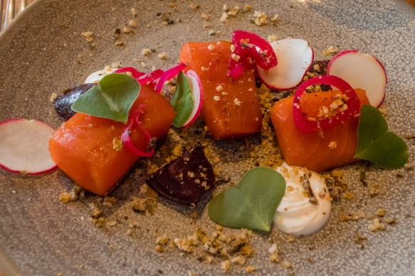 Smoked salmon with cultured cream, beets, birch syrup and sorrel, Olo, Victoria, British Columbia, Canada