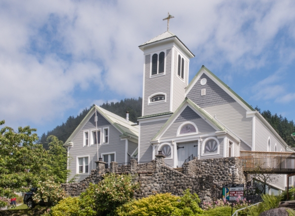 St. Rose of Lima Catholic Church, established in 19879, was the first Parish Church in Alaska; Wrangell, Alaska, USA; the beautiful wooden church is very well maintained and beloved by t