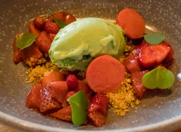 Strawberries & Sorrel – sorrel ice cream, strawberry many ways, almond praline, Olo, Victoria, British Columbia, Canada