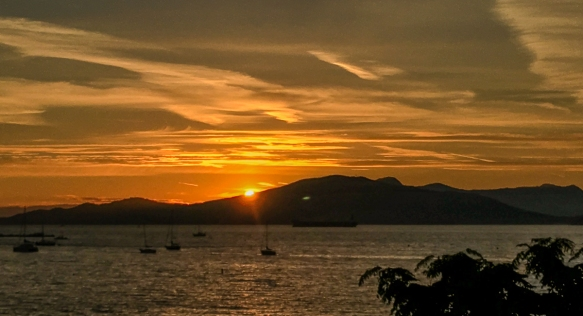 Sunset viewed from the Royal Vancouver Yacht Club, Vancouver, British Columbia, Canada