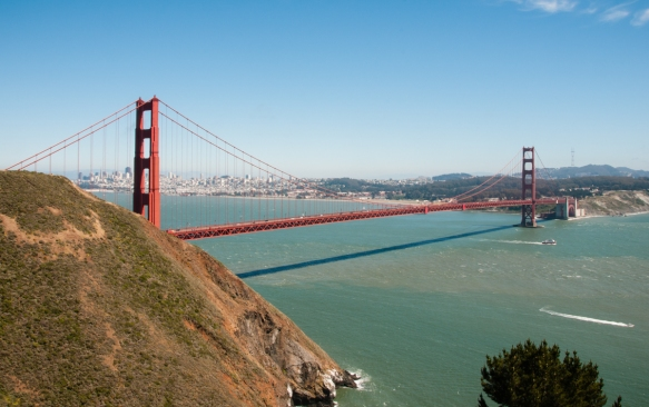 The city of San Francisco, CA, USA, is visible on a clear day behind the Golden Gate Bridge in this view from the Marin Headlands at Fort Baker, south of Sausalito in Marin County