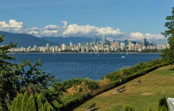 The downtown skyline viewed from the Royal Vancouver Yacht Club, Vancouver, British Columbia, Canada