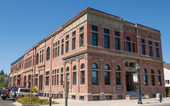 The front portion of this beautiful brick building from 1890 today houses the Jefferson County Museum of Art and History, while City Hall occupies the back section, Port Townsend, Washin