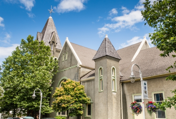 The late Victorian style St. Andrews United Church was built in 1893 (designed by American architect6 Warren H. Hayes), Nanaimo, Vancouver Island, British Columbia, Canada