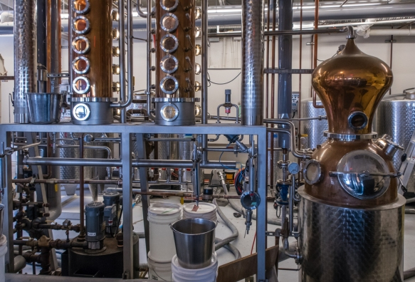 The Liberty Distillery, established in 2010 on Granville Island, Vancouver, British Columbia, Canada, ferments and distills on site using 100% British Columbia grains; no neutral grain s