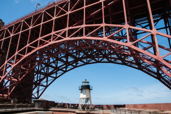 The lighthouse is inside Fort Point under the arches of the southern anchorage of the Golden Gate Bridge, San Francisco, CA, USA