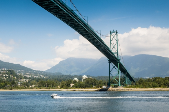 The Lions Gate Bridge viewed from the Seawall walk along Stanley Park, Vancouver, British Columbia, Canada