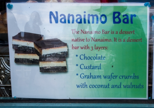 The Nanaimo bar is a dessert item of Canadian origin -- a bar dessert which requires no baking and is named after the city of Nanaimo, Vancouver Island, British Columbia, Canada