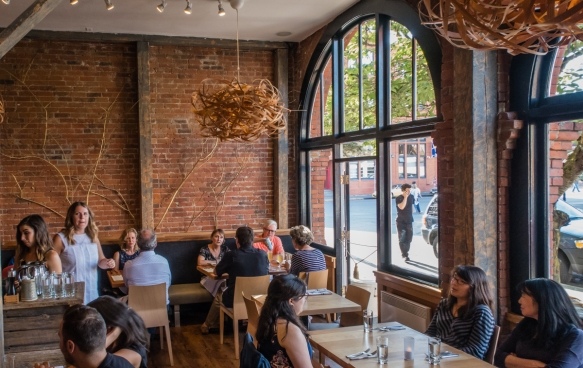The restaurant is in a typical early 20th century brick building that has been nicely refurbished, Olo, Victoria, British Columbia, Canada
