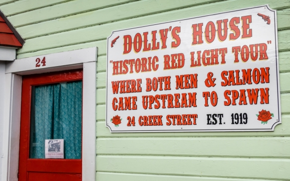 The sign on the side of Dolly_s House explains Dolly_s business, Ketchikan, Alaska, USA