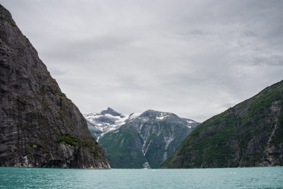 The walls of Tracy Arm Fjord, Juneau, Alaska, are quite tall and many sections of the fjord are quite narrow