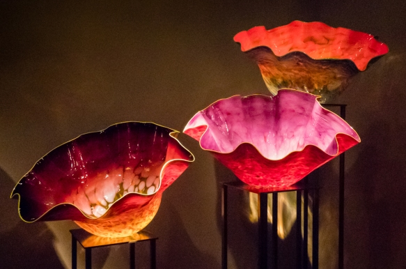 Three pieces from the Macchia series that Chihuly began in 1981 with the desire to use all 300 colors available to him in the hotshop; they are named Macchia after he asked his friend It