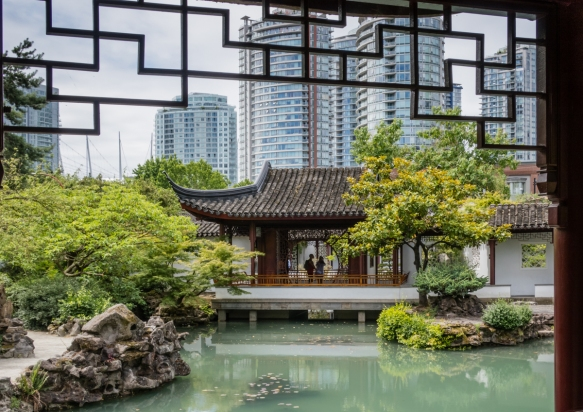 We had the opportunity to stroll along the covered walkway in the Dr. Sun Yat-sen Chinese Garden and view the garden_s collection of 150-year old miniature trees, Vancouver, British Co