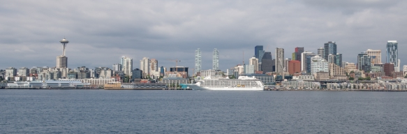 When we sailed on the Washington State Ferry over to Bainbridge Island across Elliot Bay (part of Puget Sound), we got this beautiful image of our ship docked in downtown Seattle, Washin