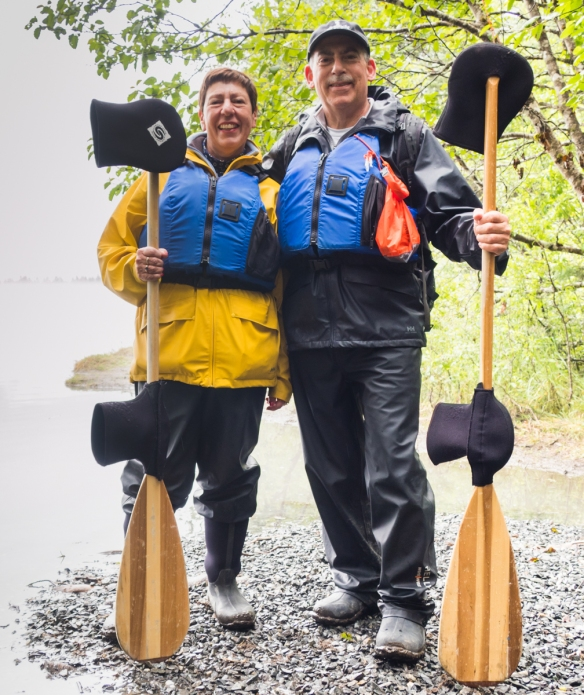 Your intrepid explorer and blogger suited up and ready for the canoe paddle to the glacier where we would trek for several hours, Lake Mendenhall, Juneau, Alaska, USA