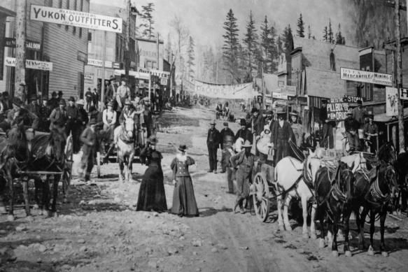 An historic photograph of Skagway, Alaska, USA; during the peak of the Yukon Gold Rush from the fall of 1897 to the spring of 1899, entrepreneurs built quickly and cheaply to make a fas