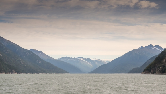 At 6.45 a.m. we took the Haines-Skagway Fast Ferry from Haines up the Lynn Canal (pictured) to Skagway, Alaska, USA, which is on the right after the last channel on the right side of the