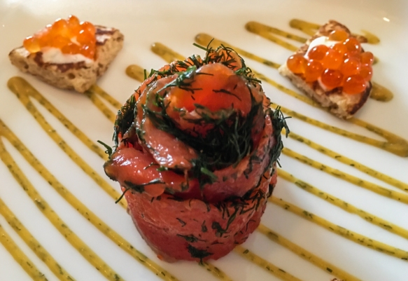 Copper River Sockeye Gravlax- House made dill cured sockeye salmon with buckwheat blini, honey mustard, dill sour cream and salmon caviar, Marx Brothers Café, Anchorage, Alaska, USA