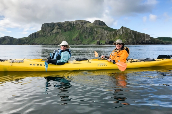 Delarof Harbor, Unger Island, Alaska, USA -- #1; the intrepid explorer and your blogger kayaking