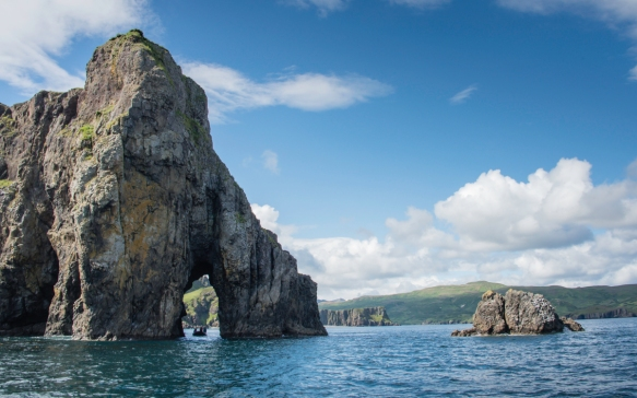Delarof Harbor, Unger Island, Alaska, USA -- #3; the arches at the end of the peninsula reminded us of Los Cabos, Mexico