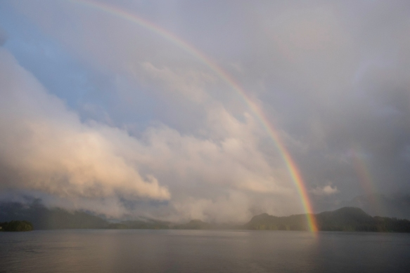 From our apartment on the ship in the late afternoon, we saw that the rain had momentarily stopped and a beautiful 180-degree rainbow appeared, Tongass National Rainforest, Sitka, Alaska