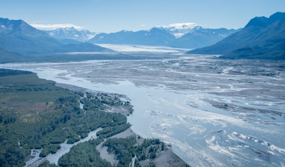 From the Knik Glacier and Lake George we flew down the 25-mile (40 km) long Knik River which empties into the Knok Arm section of Cook Inlet by Anchorage, Alaska USA