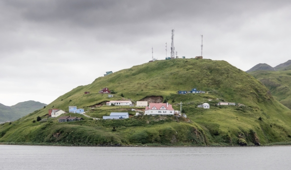 Homes on Haystack Hill in Unalaska, Unalaska Island, across the bay from Dutch Harbor, Amaknak Island, Alaska, USA