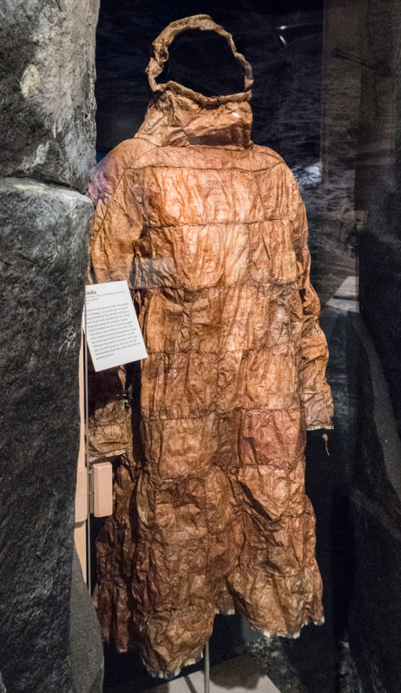 Kamleikas are outer garments made of sea mammal gut or esophagus – an exrtremely light, strong, and waterproof material that were sewn with grass or sinew threads that expanded when we