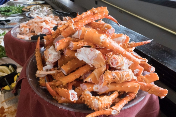 King crab legs on the Grand Aleutian Hotel_s Chart Room Restaurant_s Sunday buffet, Dutch Harbor, Amaknak Island, Alaska, USA