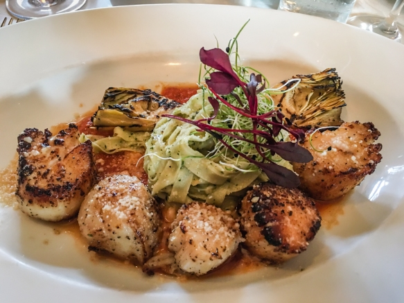 Kodiak Scallops- With house-made fettuccine, artichoke pesto, summer tomato sauce and grilled artichoke, Marx Brothers Café, Anchorage, Alaska, USA