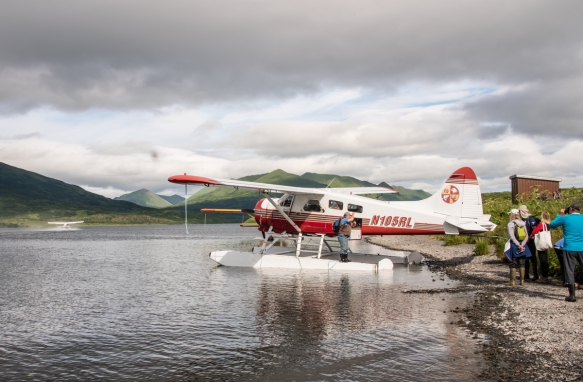 Our floatplane tied up for the day at Frazer Lake, Kodiak Island, Alaska USA; from here we hiked a little over one mile (1.6 km) to Frazer Falls