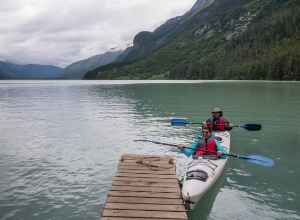 Our kayak set against the Chilkoot mountains surrounding Lake Chilkoot, Haines, Alaska, USA