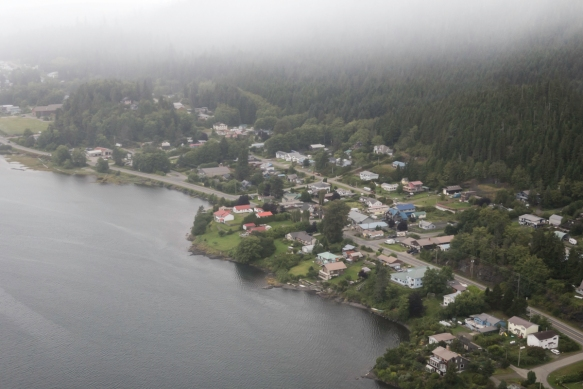 Queen Charlotte City (seen here in the rain) is a main city (population 4,800) on the south coast of Graham Island, the largest of the 150 islands making up Queen Charlotte Islands (now