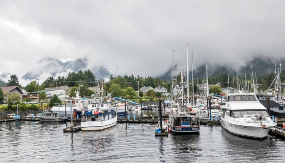 "Sitka Harbor with the mountains of Baranof Island in the background; the city has one of the largest ""fleets"" of watercraft (pleasure, fishing and commercial) of any city in Alaska"