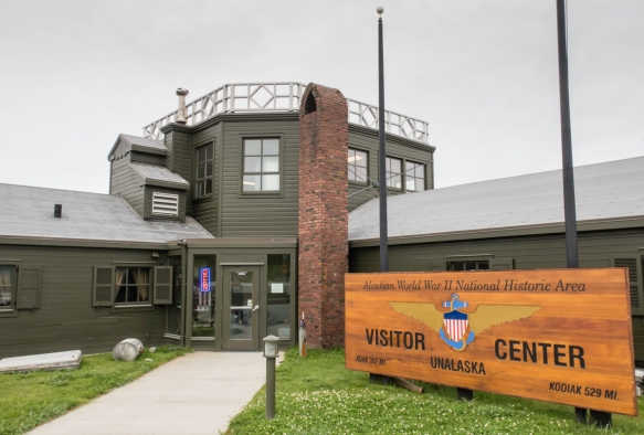 The Aleutian World War II National Historic Area Visitor_s Center (and museum), Dutch Harbor, Amaknak Island, Alaska, USA, is adjacent to the Dutch Harbor airport